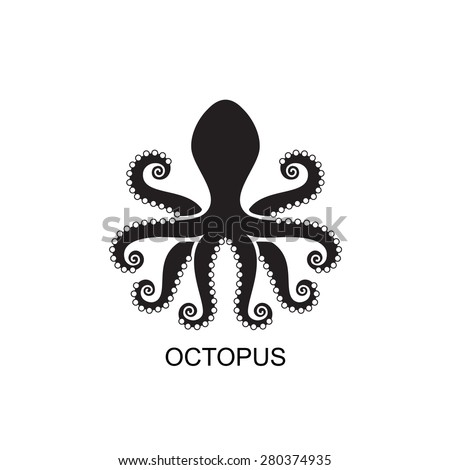 Stylized silhouette of an octopus on white background. Logo design for company. - stock vector