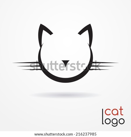 Stylized silhouette of cat's head - abstract logo - stock vector