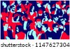 stylized silhouette of crowd of ...