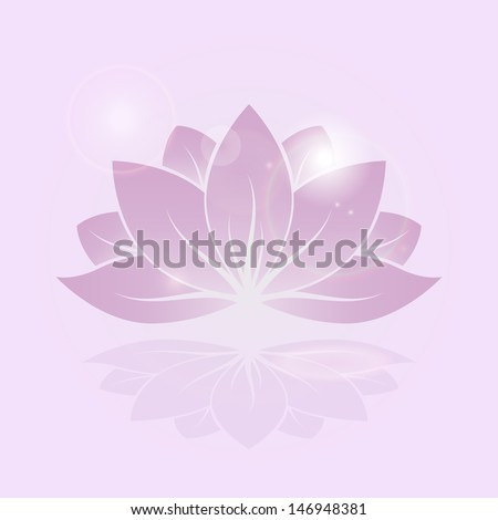 stylized silhouette of lotus flower - stock vector