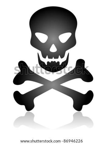 Stylized skull and bones silhouette isolated on a white background.