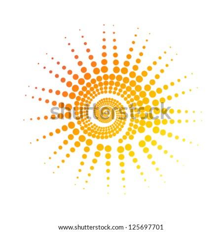 stylized sun of circles. vector - stock vector