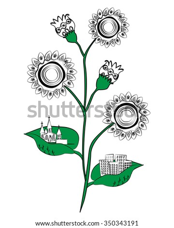 Stylized sunflower with cities on the leaves. City silhouettes on flower leaves. Ecology concept of clean environment. Doodle background. - stock vector