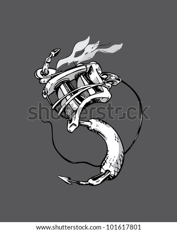 Stylized Tattoo Machine based upon the yin yang symbol - stock vector