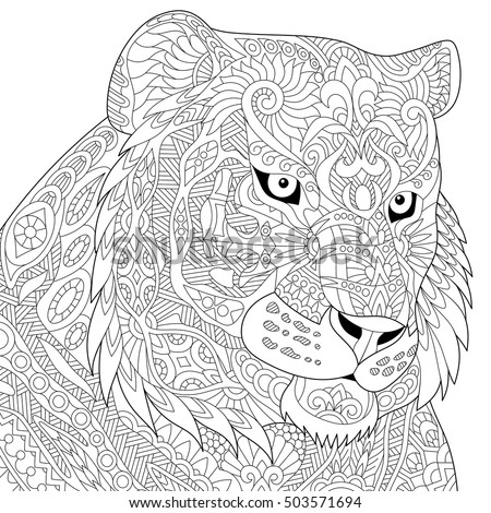 wildcat coloring page - stylized tiger lion wildcat isolated on stock vector