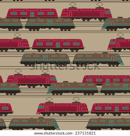 Stylized trains with wagons moving activity on railway junction seamless vector pattern - stock vector