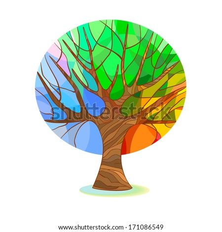 Stylized tree - four seasons - stock vector