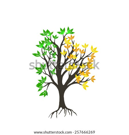 stylized tree on white background - stock vector