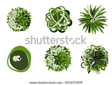 Stylized tree top view collection. Trees vector. - stock vector