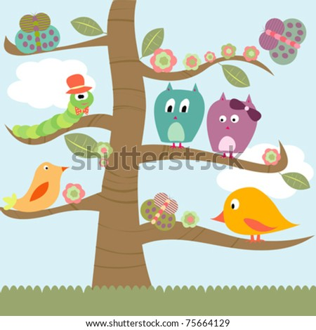 Stylized tree with doodle animals - stock vector