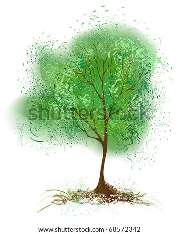 stylized tree with foliage painted with green paint on a white background. - stock vector