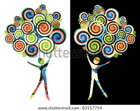 Stylized tree with the human figure - the concept of creativity - stock vector