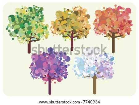 Stylized trees illustration - concept for time, changing season. - stock vector