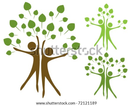 Stylized trees in the form of human figures the concept of ecology - stock vector