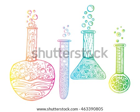 Stylized tubes. Chemistry. Bottles reagent. Line art. Black and white drawing by hand. Graphic arts. Doodle.