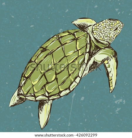 Stylized turtle swims on background sea and sea foam. Hand drawn outline sketch for T-shirt . Grunge style.