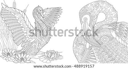 Stylized Two Beautiful Birds