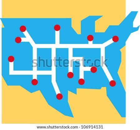 Stylized U S Network Map Icon