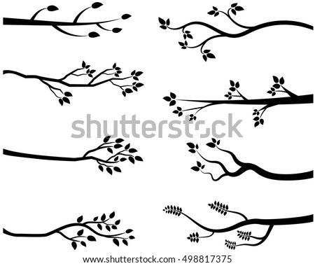 stylized vector black tree branch silhouettes - Birch Tree Branches Coloring Pages