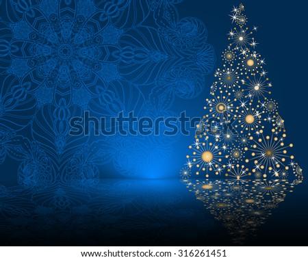 stylized vector Christmas tree on decorative mandala background - stock vector