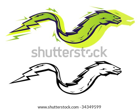 Stylized vector electric eel in two color treatments - stock vector