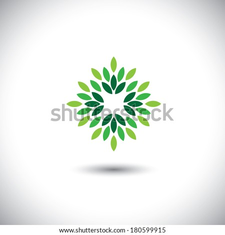 stylized vector green leaves icon arranged in pattern - eco concept vector. This graphic also represents ecological balance, evergreen forests, sustainable development, balance in nature - stock vector