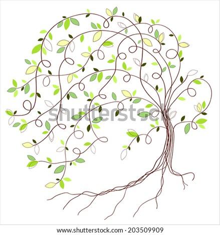 Stylized vector green tree - stock vector