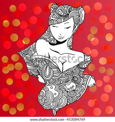 stylized vector illustration of a beautiful geisha girl. Japanese girl. Zentangle. Doodle style. Can be used as adult coloring book, coloring page, card. - stock vector