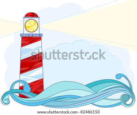 Stylized Vector illustration of a lighthouse - stock vector