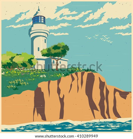 Stylized vector illustration of a lighthouse on a cliff - stock vector