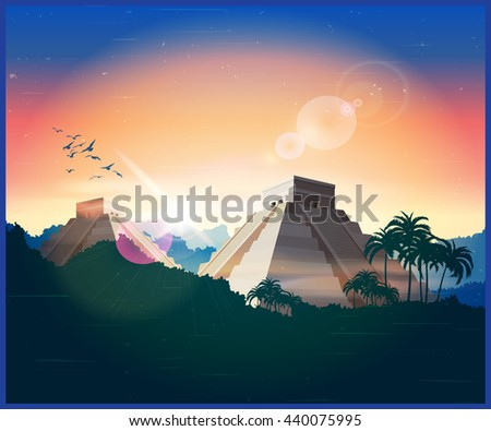 Stylized vector illustration of ancient Mayan pyramids in the jungle - stock vector