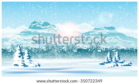 Stylized vector illustration of the edge of a winter forest during a snowfall. Seamless horizontally if needed