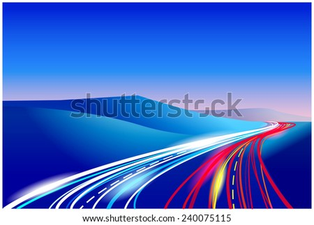 stylized vector illustration of the way. can be used in a variety of your work, illustration from highways to illustrate the work of fiber optic lines in the Telecommunications and networks, etc. - stock vector