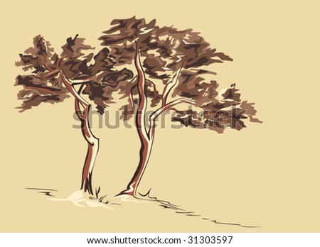 Stylized vector illustration of two trees.