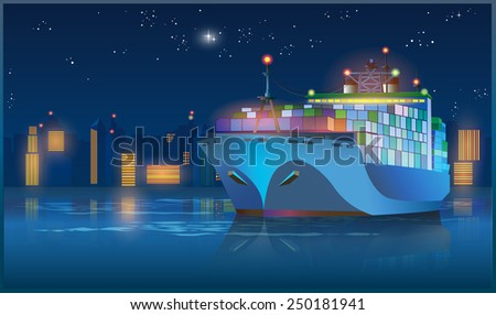 Stylized vector illustration on the theme of marine transportation. large cargo ship leaving the harbor with cargo at night  - stock vector