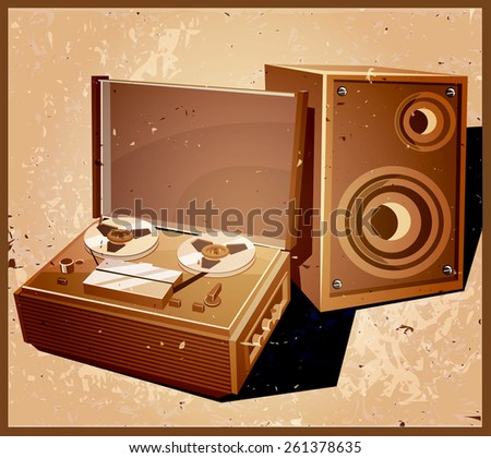Stylized vector illustration on the theme of retro electronics. old reel tape recorder with speaker. - stock vector