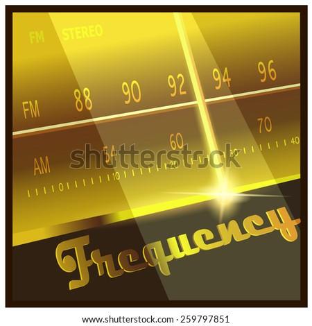 Stylized vector illustration on the theme radio, electronics, fm, am frequencies, radio broadcasts, etc. - stock vector