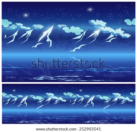 Stylized vector illustration seamless horizontally on the theme of mountains, ridges, wandering and climbing. mountains at night under the stars - stock vector