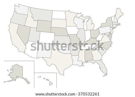 Stylized vector map of the United States. Each state can be selected individually - stock vector