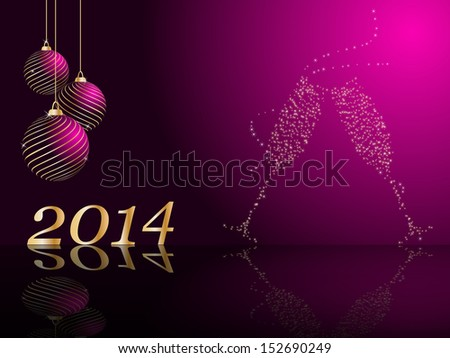stylized vector New Years card - stock vector
