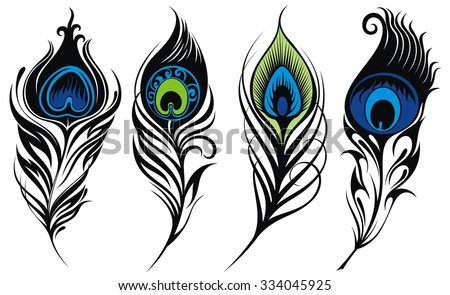 Stylized, vector peacock feathers - stock vector