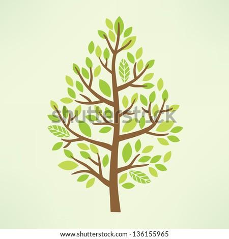 Stylized vector tree - stock vector