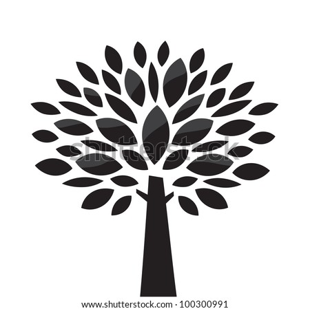Stylized vector tree. Black and white - stock vector