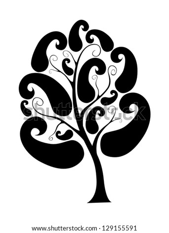 stylized vector tree (black on transparent)
