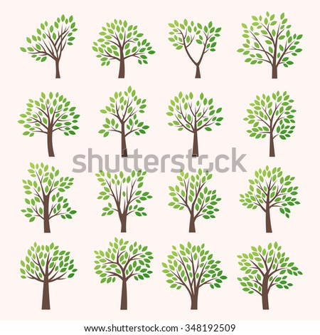 Stylized vector tree collection. Vector tree flat silhouette isolated on white background. Tree different size and forms. Tree icons set. Tree eco nature. Green collection of tree. Leaves, tree. Tree - stock vector