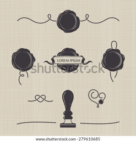 Stylized wax seals on seamless canvas. Silhouette templates for your design. Set of wax seal, rubber stamp and decorative elements of the cord. - stock vector