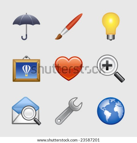 Stylized web icons, set 09 - stock vector