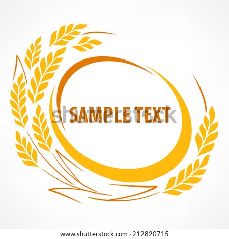 Stylized wheat ears emblem on white and text, agricultural vector illustration - stock vector