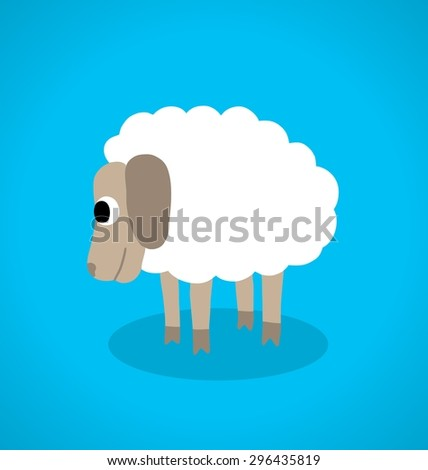 stylized white sheep on a blue background