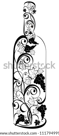 Stylized wine bottle - stock vector